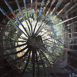 Shattered (Original) by Jen Dacota - Shattered' was an experimental piece that I created as I was painting. It took on the abstract form of a glass being shattered Besides having an unusual, cool look; this painting causes me to reflect on how many of us are ' shattered' in some way,imperfect.