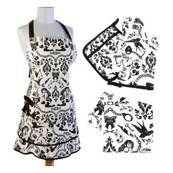 Sin in Linen - Ravens Dream Kitchen Linen Set - Pinups, chains and handcuffs on my! Add a little flirt to your kitchen with these Ravens Dream kitchen linens. Includes 1 apron, oven mitt, potholder and dish towel.