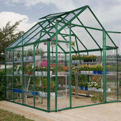 Poly-Tex, Inc. - Palram Snap & Grow 8' x 8' Hobby Greenhouse - Green - The Snap & Grow 8' x 8' Green Frame Hobby Greenhouse features the SmartLock connector system. Heavy duty aluminum frames assemble easily without a lot of hardware. Crystal-clear SnapGlas panels slide right into the frame, lock into place and are virtually unbreakable. The 8' wide greenhouse offers double hinged doors. You can later expand your Snap & Grow in 4' increments to build the hobby greenhouse to suit your individual needs. Aluminum framework powder coated green, clear single layer polycarbonate panels, swinging front doors, rain gutter and one roof vent are standard features of the Snap & Grow. Has an easy to use set up manual. Available in standard silver or a more natural green powder coat. Make any backyard a sanctuary-in a snap!