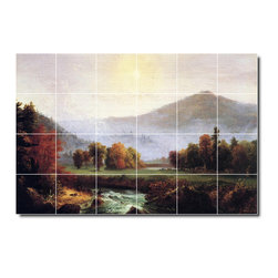 Picture-Tiles, LLC - Morning Mist Rising Plymouth New Hampshire Tile Mural By Thomas Cole - * MURAL SIZE: 24x36 inch tile mural using (24) 6x6 ceramic tiles-satin finish.