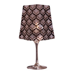 Modgy - Lumizu Wine Glass Shade LeLe - Creating instant elegance is easy with LUMIZU Wine Glass Shades. These wine glass lamp shades are crafted from durable, frosted plastic and slide easily over water-filled wine glasses. No assembly required. LUMIZU Wine Glass Shades fit over any standard