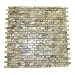 "South Sea Pearls Mini Brick Pattern Tile - South Sea Pearls Mini Brick Pattern Glass Tile This captivating south sea pearl tile in shades of brown is artfully arranged in a classic brick pattern. The pearl shell glass will add a durability and lasting exquisiteness to your kitchen, or fireplace installation. These tiles are mesh mounted and will bring a sleek and contemporary clean design to any room. Chip Size: 1/4"" x 3/4"" Color: Light Shades of Brown Material: Pearl Shell Glass Finish: Polished Sold by the Sheet - each sheet measures 11 3/4"" x 11 3/4"" (.96 sq. ft.) Thickness: 1mm Please note each lot will vary from the next. This tile is not recommended to be installed in a shower, shower floor or pools."