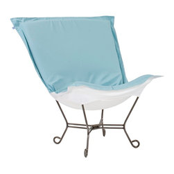 "Howard Elliott - Transitional Howard Elliott Starboard Breeze Patio Puff Scroll Chair - A light blue cushion with white on the bottom sits atop the metal frame of this patio chair. Titanium frame has scroll feet that create a charming accent. A fresh outdoor design from Howard Elliott. Outdoor patio chair. Titanium finish metal frame. Starboard breeze blue fabric. White fabric on underside. 40"" wide. 37"" deep. 40"" high.  Outdoor patio chair.   Titanium finish metal frame.   Starboard breeze blue fabric.   White fabric on underside.   40"" wide.   37"" deep.   40"" high."
