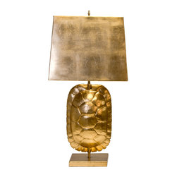Worlds Away - Worlds Away Cecile Gold Leaf Tortoise Shell Lamp - The Worlds Away Cecile table lamp exudes playful panache in modern interiors. Beneath a bold metallic shade, this fixture's base showcases a compelling gold leaf tortoise shell sculpture. Gold leaf; Rectangular metal shade; Accepts one 60W max bulb (not included)