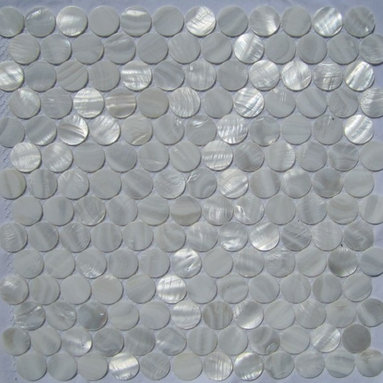 """White Mother of Pearl 1"""" Circles Tile - Mother of pearl tiles add new and unique elegance to your bathroom, backsplash, headboard, and more. Our Mother of Pearl tiles are handmade from genuine natural freshwater pearls. Although Mother of Pearl tiles are naturally thin, they are very strong and durable as well as easy to install in kitchens, bathrooms, and pools."""