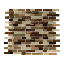 "Southern Trail Blend Marble & Glass Tile Brick Pattern - BRICK PATTERN SOUTHERN TRAIL BLEND 1/2X2 GLASS TILE BRICK This striking combination of the wood onyx and butterscotch with the cream and chocolate glass creates a relaxing and stylish backsplash to any room. The textured finish gives a distinctive appearance; great to use for the bathroom, ktichen or pool installation. Chip Size: 1/2"" x 1/2"" & 1/2"" x Random Color: Metallic Copper, Butterscotch, Cream & Chocolate Material: Wood Onyx, Glass Finish: Textured, Polish. Frosted & Tumbled Sold by the Sheet - each sheet measures 12"" x 13"" (1.08sq. ft.) Thickness: 8mm"