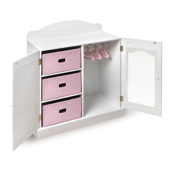 Badger Basket Mirrored Doll Armoire with 3 Baskets and 3 Hangers - I love the design of this one! One door has a child-safe mirror and the other allows a clear view through to see doll's cute outfits. It even comes with three hangers and three baskets for storage.