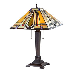 """Chloe Lighting - Arts & Crafts Eda Stained Glass Table Lamp - The Arts & Crafts Eda Stained Glass Table Lamp is 24.00"""" in height. The resin base is 19.70"""" x 7.40"""" with a dark antique bronze finish. The shade is 7.70"""" in height x 16.00"""" wide. It is handcrafted with 184 pieces of lead-free stained glass using the """"copper foil"""" technique, a method made popular by Louis Comfort Tiffany that involves wrapping the pieces of glass with copper foil and soldering them together along the length of the seams. Each example of the lamp will have unique aspects as no two pieces of glass have the exact same texture, color, shape or clarity. These differences are characteristic of hand crafted panels or lamps using this technique. Two pull chain light switches. Uses two 100W max E26 Type A Bulbs."""