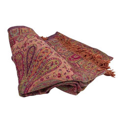 Used Pashmina Jammu Throw - Handwoven in the twill-tapestry technique, this Jammu throw is a luxurious blend of wool and silk. Inspired by Mughal style, each throw features a varying complexity of paisley patterns on both the front and back.