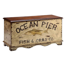 None - Portola Bay 'Ocean Pier' Design Storage Chest - A replica of an old crate found in a coastal town, the Ocean Pier storage box adds character to a room. Crafted of birch veneers, it features a hand-painted body, wood grain top and plenty of storage.