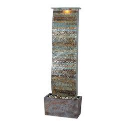 Kenroy - Kenroy 50251SL Curvature Slate Floor Fountain - Kenroy 50251SL Curvature Slate Floor Fountain