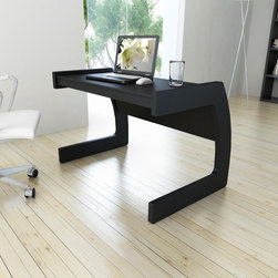 "dCOR design - Corbrands Workspace 44-inch Desk, Midnight Black - Turn any small space into a stylish and productive workplace with this classic black C-shaped desk by Sonax. The Stylish curved shape of this piece produces a spacious and sturdy desk top while maintaining a small footprint ideal to accommodate even the tightest spaces. Crafted with special attention to detail making it easy to assemble. Features: -Desk.-Contemporary style.-Stable 'C' shaped legs.-Generous desk space.-Desk Type: Computer Desk;Writing Desk.-Top Finish: Midnight Black.-Base Finish: Midnight Black.-Powder Coated Finish: No.-Gloss Finish: No.-UV Finish: No.-Top Material: Engineered Wood.-Base Material: Engineered Wood.-Water Resistant: No.-Stain Resistant: No.-Heat Resistant: No.-Style: Contemporary/Modern.-Distressed: No.-Collection: Workplace Collection.-Keyboard Tray: No.-Height Adjustable: No.-Drawers Included: No.-Pencil Drawer: No.-Jewelry Tray: No.-Exterior Shelving: No.-Cabinets Included: No.-Handedness: Left;Right.-Scratch Resistant: No.-Chair Included: No.-Legs Included: Yes -Number of Legs: 2.-Leg Material: Engineered Wood.-Leg Glides: No..-Casters Included: No.-Hutch Included: No.-Treadmill Included: No.-Cork Back Panel: No.-CPU Storage: No.-Built In Outlet: No.-Light Included: No.-Modular: No.-Lifestage: Kids;Teen;Adult.-Application: Home Office.-Commercial Use: No.-Country of Manufacture: Canada.-Weight Capacity: 100 lbs.-Swatch Available: Yes.-Recycled Content: No.Specifications: -CARB Compliant: Yes.Dimensions: -Overall Height - Top to Bottom: 29"".-Overall Width - Side to Side: 44"".-Overall Depth - Front to Back: 28"".-Desktop Height: 29"".-Desktop Width - Side to Side: 44"".-Desktop Depth - Front to Back: 19.25"".-Legs: -Leg Height: 29""..-Overall Product Weight: 53 lbs.Assembly: -Assembly required.-Assembly Required: Yes.-Tools Needed: Screwdriver.-Additional Parts Required: No.Warranty: -Manufacturer provides one year warranty.-Product Warranty: 1 Year warranty."