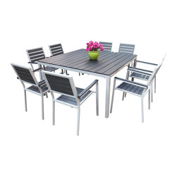 MangoHome - Outdoor Patio Furniture New Aluminum Resin 9-Pc Square Dining Table & Chairs Set - Outdoor Patio Furniture New Aluminum Resin 9-Piece Square Dining Table & Chairs Set