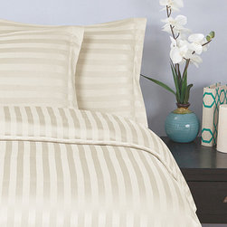 Elegance Linen - Ivory Damask Stripe Duvet Set - Make the bed with this soft microfiber set. Each sleek, striped piece resists fading and wrinkling.   Includes duvet cover and two pillowcases (twin sizes include one pillowcase) 100% polyester Machine wash Imported