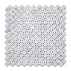 Stone Center Corp - Carrara White Marble Mini Fish Scale Fan Shaped Mosaic Tile Honed - Premium Grade Shell Shaped Carrara Marble Mosaic tiles. Italian Bianco Carrera White Venato Carrara Honed 12 x 12 Mini Fish Scale Fan Shaped Mosaic Wall & Floor Tiles are perfect for any interior/exterior projects. The Carrara White Marble Shell Shaped Fish Scale Mosaic tiles can be used for a bathroom flooring, shower surround, gardern, paving, balcony, corridor, terrace, spa, pool, fountain, etc. rs, and more.