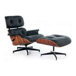 Ariel - Eames Style Lounge Chair with Ottoman Top Grain Italian Leather, Black - The ultimate lounge chair, Eames Style Lounge Chair With Ottoman is probably the most famous furniture in American history. From the living room to the office, this elegant lounge chair will be the centerpiece of practically anywhere in your home. Some of the chair's distinctive features include 100% top grain genuine leather upholstery, elegantly molded 7-layer plywood frame with Rosewood Palisander veneer, and beautiful matching ottoman. Available in white or black leather.