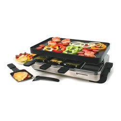 Swissmar - Swissmar - 8 Person Stelvio Raclette Party Grill - Swissmar - 8 Person Stelvio Raclette Party Grill - KF-77080   Entertaining will be relaxing while everyone grills their own food on this stainless steel raclette. The non-stick reversible grill / crêpe top is ideal for grilling meats and veggies, and is perfect for grilling sandwiches, eggs, bacon, pancakes, and dessert crêpes. Variable heat control and 1200 watts for fast heating. Includes 8 heat-resistant spatulas and raclette dishes.