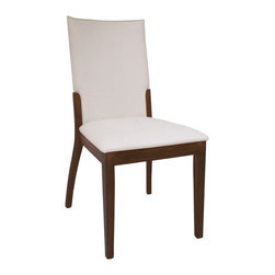 Chintaly Imports - Upholstered Back Side Chair (Set of 2) - Crme PVC Upholstered wood side chair. Finished in Satin Dark Walnut