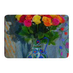 """KESS InHouse - S. Seema Z """"Spring Bouquet"""" Orange Flowers Memory Foam Bath Mat (17"""" x 24"""") - These super absorbent bath mats will add comfort and style to your bathroom. These memory foam mats will feel like you are in a spa every time you step out of the shower. Available in two sizes, 17"""" x 24"""" and 24"""" x 36"""", with a .5"""" thickness and non skid backing, these will fit every style of bathroom. Add comfort like never before in front of your vanity, sink, bathtub, shower or even laundry room. Machine wash cold, gentle cycle, tumble dry low or lay flat to dry. Printed on single side."""