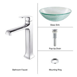 Kraus - Kraus C-GV-500-12mm-15200CH Broken Glass Vessel Sink and Decorum Faucet - Add a touch of elegance to your bathroom with a glass sink combo from Kraus