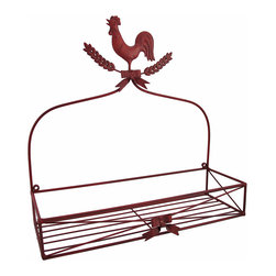 Zeckos - Red Metal Rooster Wall Mounted Basket Shelf - This red rooster basket adds a charming accent to country kitchens. Made of metal, it measures 13 inches tall, 13 1/4 inches long, and 4 1/2 inches deep. It has pre-drilled holes that make it easy to mount to the wall with 2 nails or screws. This basket is a great way to free up some space on your kitchen countertop, while adding a decorative accent to the wall. Fill it with the spices you use most, napkins, or decorative items.