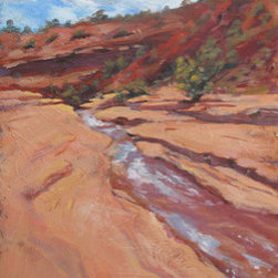"""Bangs Canyon Colorado"" (Original) By Nancee Jean Busse - Once A Year, This Beautiful Stream Flows Through The Red Sandstone Of Bangs Canyon In Western Colorado. Bangs Canyon Is A Haven For Those Who Love To Walk And Ride Through The Rugged Canyons Surrounding The Colorado National Monument."