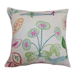 """The Pillow Collection - Unayzah Floral Pillow Spring Time - This botanical inspired throw pillow features fun and vibrant colors. The blooming flowers come in an array of colors: pink, green, blue, white and yellow. This accent pillow brings excitement and to your interiors. Finish off your living room or bedroom with a set of this floral throw pillow. This 18"""" pillow is made from a combination of high-quality materials: 55% linen and 45% rayon fabric. Hidden zipper closure for easy cover removal.  Knife edge finish on all four sides.  Reversible pillow with the same fabric on the back side.  Spot cleaning suggested."""
