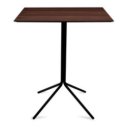 Bryght - Curt Walnut Veneer Bar Table - An urban linear layout, the Curt table with its sleek metal base creates a focal point that is stylish yet functional. Perfect for a breakfast nook.