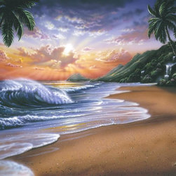 Murals Your Way - Sunrise Beach Wall Art - Sunlight spills from behind the clouds over a tropical beach in this wall mural. On the sides, tall palm trees reach high above the shore.
