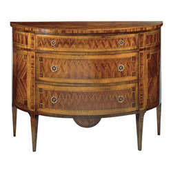 """Inviting Home - Louis XVI Inlaid Chest - medium - Louis XVI style three drawer half-round chest finished in mahogany veneer inlaid with maple cherry and palissander; 34""""W x 14-1/2""""D x 30-1/2""""H hand-made in Italy Louis XVI style inlaid half-round chests available in two sizes. Louis XVI chests have three drawer and finished in mahogany veneer inlaid with maple cherry and palissander wood. The drawers have antiqued brass hardware and varese paper lining. This inlaid chests are hand-made in Italy."""