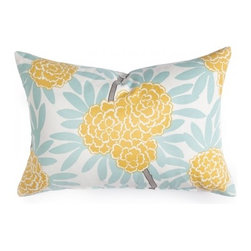 Mustard Fleur Chinoise Pillow - I realize I am cheating a little on this one, as the pillow isn't entirely yellow, but I think the beautiful color combination will inspire forgiveness, yes?