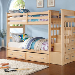 ACME Furniture Allentown Collection - Perfect for growing kids, the Allentown collection is made for a slumber party!  The bunk fits two twin beds and a roll-out trundle unit to easily sleep three to a room.  Stairs at the bunk end make it easy to climb and descend from top bunk while creating a fun tree-house aesthetic for your kids.  Five drawers beneath the stairs are perfect for clothing, toys, games, and more! A Maple finish and clean lines make this bunk flexible with your kids' growth.  Dress it up or down with their changing personal style over the years.  Replace the need for a dresser and save space with this triple bed bunk!