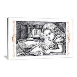 """Artsy Canvas - Alice In Wonderland: Alice Grows Large 30"""" X 20"""" Gallery Wrapped Canvas Wall Art - Sir John Tenniel (1820 - 1914) Sir John Tenniel was a British illustrator, graphic humourist and political cartoonist whose work was prominent during the second half of England's 19th century beautifully represented on 30"""" x 20"""" high-quality, gallery wrapped canvas wall art"""