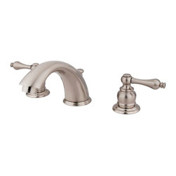 """Kingston Brass - Two Handle 8"""" to 16"""" Widespread Lavatory Faucet with Retail Pop-up KB978AL - Two Handle Deck Mount, 3 Hole Sink Application, 8"""" to 16"""" Widespread, Fabricated from solid brass material for durability and reliability, Premium color finish resists tarnishing and corrosion, 1/4 turn On/Off water control mechanism, 1/2"""" IPS male threaded inlets with rigid copper piping, Duraseal washerless cartridge, 2.2 GPM (8.3 LPM) Max at 60 PSI, Integrated removable aerator, 5-3/4"""" spout reach from faucet body, 4"""" overall height.. Manufacturer: Kingston Brass. Model: KB978AL. UPC: 663370001574. Product Name: Two Handle 8"""" to 16"""" Widespread Lavatory Faucet with Retail Pop-up. Collection / Series: Victorian. Finish: Satin Nickel. Theme: Classic. Material: Brass. Type: Faucet. Features: Drip-free washerless cartridge system"""