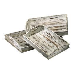Cyan Design - Rectangular Trays - Rectangular trays - distressed white