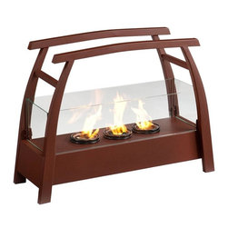 Southern Enterprises - Rhome Portable Indoor-Outdoor Gel Fireplace - It's hard enough to find time to relax - you shouldn't have to find space too! This portable fireplace is the perfect choice for any home in search of a cozy, portable fireplace for indoor and outdoor use. This portable gel fireplace offers the warmth and joys of a fireplace without wasting valuable space when not in use. FireGlo Gel Fuel snaps and crackles like real wood for the perfect fireplace experience; replace the gel fuel with decorative pillar candles for year round enjoyment. Convenience and ease of assembly are just two of the reasons why this fireplace is perfect for your home. The simple, Asian-inspired style of this portable fireplace works well in transitional and contemporary homes. It's great for the living room and bedroom, and even adds a warm, romantic touch to the dining room or home office. Move it to your patio to enjoy the warmth and beauty outdoors too!