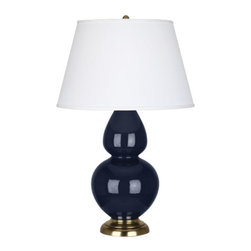 Robert Abbey - Robert Abbey Large Double Gourd Pearl Dupioni Table Lamp with Brass Base MB20X - Midnight Blue Glazed Ceramic