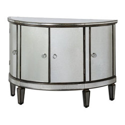 Matthew Williams - Matthew Williams Sainsbury Mirrored Console Cabinet X-67342 - Vintage, demilune shape given a fresh face of curved mirrors around the antique bronze, solid birch frame. Four cabinet doors are accented with chrome ring pulls.