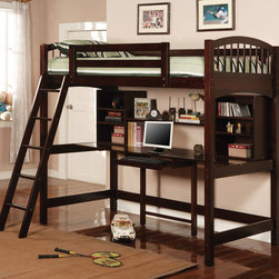 Coaster - 460063 Twin Workstation Bunk - Cappuccino - The simply styled piece features clean lines, curved bed ends, and an included ladder for easy up and down. The twin bed sits atop a convenient study area, offering a large work top with pull out center keyboard drawer to easily accommodate a computer. A large center shelf and three smaller shelves on each side of the desk will hold books, photos, and essential supplies. Bunk bed comes in a rich dark cappuccino finish.