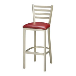 "Regal - Steel Ladder Back 30"" Metal Barstool - Simple and classic, this barstool features the popular ladder back design for added support and comfort. Features: -Modern steel frame. -1 Year limited manufacturer warranty for both commercial and residential use. -Warranty does not apply to upholstery material. Please Note: For orders of 12 products or more, discounts may apply. Please call to place your order. Dimensions: -Seat height: 30"". -Overall: 43.5""H x 17"" W x 17"" D, 24 lbs."