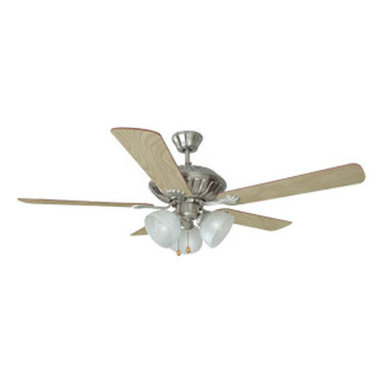DHI-Corp - Trevie 52-inch 3-Light 5-Blade Ceiling Fan, Redwood or Light Maple Blades - The Design House 153981 Trevie 52-Inch 3-Light 5-Blade Ceiling Fan features a satin nickel finish with alabaster glass shades that are ideal for any room in the house. Use the pull chain to control your 3-speed motor and toggle between three different speed settings. The (5) fan blades have a light maple finish on one side and a redwood on the other. Choose between close-up, 4-inch downrod or vaulted mount for angled ceilings. Run the motor in reverse to help conserve energy costs during all seasons. Blades can be run on the normal setting during the summer to create cooling air flow and on reverse in the winter to re-circulate warm air from the ceiling. This fan is UL listed, rated for 120-volts and features (3) 60-watt candelabra base incandescent lamps. Adaptable light kit is included. Measuring 52-inches, this fixture adds a dramatic accent to any home or condominium. Coordinate your home with the rest of the Trevie collection, which features a beautiful matching pendant, chandelier, vanity and ceiling mount. The Design House 153981 Trevie 52-Inch 3-Light 5-Blade Ceiling Fan comes with a 10-year limited warranty that protects against defects in materials and workmanship. Design House offers products in multiple home decor Categories including lighting, ceiling fans, hardware and plumbing products. With years of hands-on experience, Design House understands every aspect of the home decor industry, and devotes itself to providing quality products across the home decor spectrum. Providing value to their customers, Design House uses industry leading merchandising solutions and innovative programs. Design House is committed to providing high quality products for your home improvement projects.