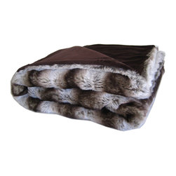 "European Faux Fur Collection - Chinchilla Brown Woven Faux Fur Throw With Chocolate Microsoft Velour Lining. (52""x70"") Faux Fur Made in France."