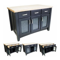 Jeffrey Alexander - Jeffrey Alexander Contemporary Black Kitchen Island 52-1/2 x 33-1/8 Inch - Jeffrey Alexander 52 1/2 Inch x 33 1/8 Inch x 35 1/2 Inch furniture style island is manufactured using the highest quality furniture grade hardwoods and MDF. The island features six working drawers and cabinet storage on both sides and fully adjustable open shelves on the reverse side. Cabinet doors feature modern textured glass inserts. The drawers are dovetailed solid hardwood and are mounted on full extension soft close undermount slides. The included decorative hardware can be found in Jeffrey Alexander Delgado collection (519 128). Black finish is applied by hand. 1 3/4 Inch hard maple edge grain butcher block top sold separately (ISL01 TOP 54 Inchx 34 Inch). Overall Dimensions: 52 1/2 Inch x 33 1/8 Inch x 35 1/2 Inch Dimensions taken from the widest point Finished in Black (finish applied by hand)  All Materials used meet California CARB2 Requirements