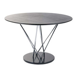 "Eurostyle - Eurostyle Stacy Pedestal Round Dining Table w/ Black Marble Base - Pedestal Round Dining Table w/ Black Marble Base belongs to Stacy Collection by Eurostyle This table makes a statement and it goes like this: ""I am strong, modern, built to last and I'm virtually indestructible"". It's true. With a marble base and black veneered top this table boasts a chromed steel infrastructure that is a marvel of sturdiness and style. Table Base (1), Table Top (1), Table Column (1)"