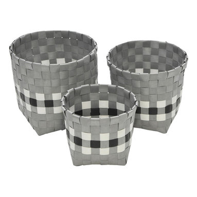 "Round Woven Strap Storage Totes With Square Base, Gray/Black/White, Set of 3 - This set of 3 round woven strap storage totes is made of polypropylene and features a stylish square base. Versatile, these baskets offer storage solutions for any living area, bedroom, bathroom or office. Wipe with a damp cloth. Small basket measures a diameter of 4.92"" X 4.13""H, Medium basket diameter of 5.71"" X 4.92""H, Large basket diameter of 6.50"" X 5.71""H. Color grey with black and white. This pretty set of round woven strap tote baskets will complement your decor as well as being functional and will make a great addition to any closet or countertop! Complete your decoration with other products of the same collection. Imported."