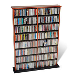 Prepac - Prepac Double Width CD DVD Wall Storage in Cherry and Black - Prepac - CD & DVD Media Storage - CMA0640 - This library style multimedia storage unit with a central divider is designed to accommodate any combination of media in a medium-sized collection. It makes efficient use of space and boasts a considerable amount of storage. Fully adjustable shelves can be set to any position to accommodate your collection.