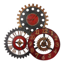 Grace Feyock - Grace Feyock Rusty Movement Transitional Clock X-26760 - This unusual collage of clocks is made from hand forged metal and features a finish of vibrant rustic red, antiqued gold and aged black.
