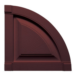 """Builders Edge - Raised Panel Design Quarter Round Tops in Bor - Provides distinctive styling for standard shutters. Constructed with color molded-through vinyl so they will not scratch, flake, or fade. Durable, maintenance-free U.V. stabilized, deep wood grain texture. Made in the USA. For use with Builders Edge 15"""" Standard Raised Panel Shutters only. 14.75 in. W x 1 in. D x 14.75 in. H (1.69 lbs.)"""