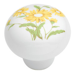 Hickory Hardware - English Cozy Yellow Flower Cabinet Knob - A rustic elegance is characteristic of this look.  Elements have a handmade, forged metal quality.  Some pieces look as if they were bought in antique shops.