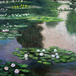 "overstockArt.com - Monet - Water Lilies(green and violet) - 20"" X 24"" Oil Painting On Canvas Easily recognizable, Water Lilies by Claude Monet has been carefully redone to near perfection with color and brush stroke detailing. The Water Lilies painting is actually a series of 250 oil paintings by Monet. They depict Monet's garden in Giverny and were the main subjects of his paintings later in his career. Monet, a French Impressionist, was born in Paris is 1840, and pursued his passion for painting from the start befriending fellow Impressionist artists. The outdoors clearly inspired Monet to take most of his subject matter from nature's beauty. His use of realistic colors and attention to detail still inspire painters today. This beautifully reproduced painting will work in many rooms in your home. Order it today and start your own collection of Monet masterpieces."